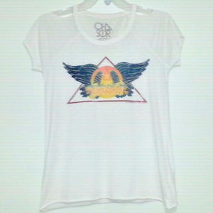 CHASER AEROSMITH COLD SHOULDER WHT TEE SZ/M + TOTE